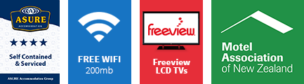 4 star rated motel accommodation in Katikati with Freeview television and wireless broadband internet